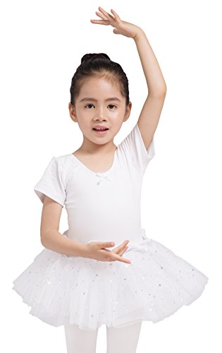 Dancina Leotard Sparkle Tutu Dress Short Sleeve Lovely Girls Princess Costume 2T White -