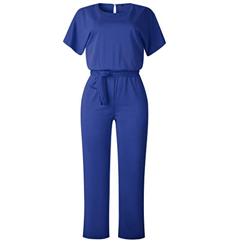 Belted Terry Belt - LiLiMeng Women Short Sleeve Bow Belt Loose Playsuit Clubwear Straight Leg Jumpsuit Casual Clothes Blue