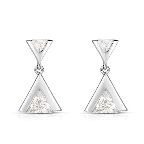 925 Solid Sterling Silver and Trillion Cut Cubic Zirconia Designer Modern Triangle Post Dangling Drop Earrings. (Rhodium-Plated Silver) ()