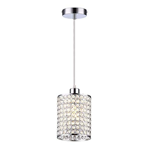 Wtape 1-Light Crystal Mini Cylindrical Pendant Lighting, Decorative Pendant Light with 55'' Adjustable Cord for Kitchen Island, Dining Room, Bedroom, Living Room,Hotels and Shops,Chrome Finish