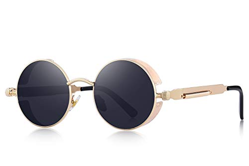 - MERRY'S Gothic Steampunk Sunglasses for Women Men Round Lens Metal Frame S567(Gold&Black, 46)