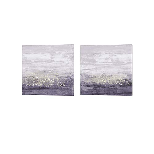 Amethyst Glitter by Jennifer Goldberger, 2 Piece Canvas Art Set, 14 X 14 Inches Each, Abstract Art ()