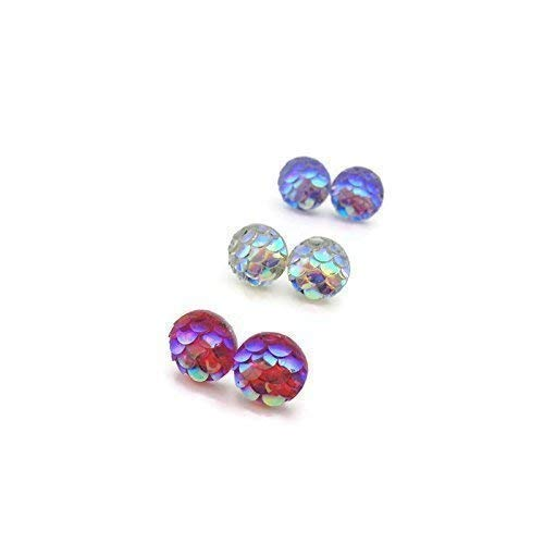 Tiny Mermaid Scale Earrings on Plastic Post Studs, 8mm Pink, Iridescent, Purple ()