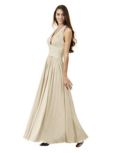 Alicepub Sexy Robes De Demoiselle D'honneur V-cou Licol En Mousseline De Soie Champagne Maxi Robe De Bal De Soirée