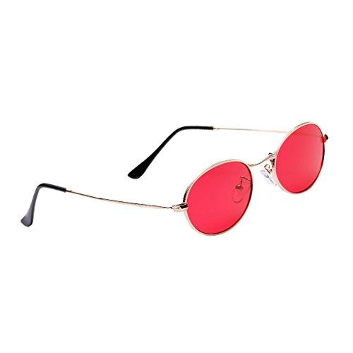 Plano Mujer Rojo de Dolity mm Hombre 50 UV400 Unisex Gafas Espejo Astilla Vintage blanca Accesorios Metal RFqfaX