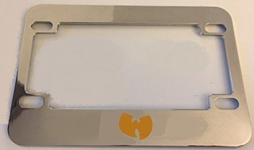 Wutang - Unique Design - Chrome with Yellow Motorcycle / Scooter License Plate Frame - Biggie Tu Pac (Tupac License Plate Frame compare prices)
