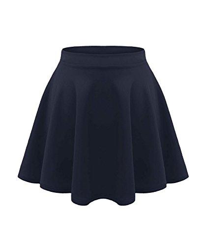 Loxdonz Girls Kids Casual Mini Stretch Waist Flared Plain Pleated Skater Skirt (7/8 Years, Navy)