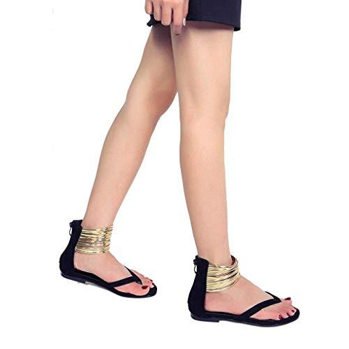 negro Inferior Playa Casual Azul para de Mujer Color Plana AiBarle Estilo Sandalias con Parte 1gOwqHp