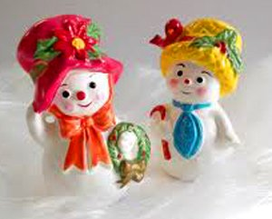 Vintage Napco Ceramic Snowman Figurines