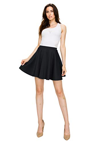 636681a6aa78 Made By Johnny Women's Basic Versatile Stretchy Flared Casual Mini Skater  Skirt XS-XXL Plus ...