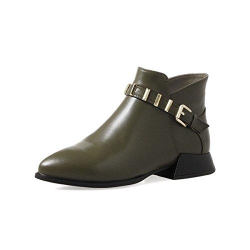 Zapatos Hasta Damas Casual Verde Encaje WJNKK Botines Zipper Bloque Heel Chunky 1TTqYw8