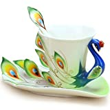 DUSIEC Collectable Fine Arts China Porcelain Tea Cup and Saucer Coffee Cup Peacock Theme Romantic Creative Present (Green)