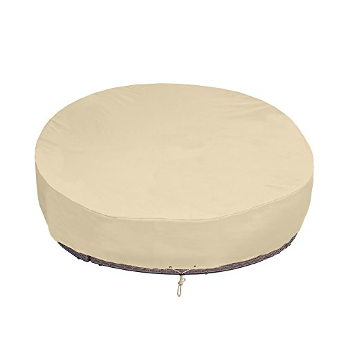 SunPatio Round Patio Daybed Cover 88 Inch, Heavy Duty Outdoor Canopy Daybed Sofa Cover with Waterproof Sealed Seam, 88