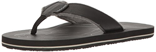 Scott Hawaii Men's Papio Vegan Leather Sandals | Soft Terrycloth Lined Flip Flops | Grey Style | Size 12