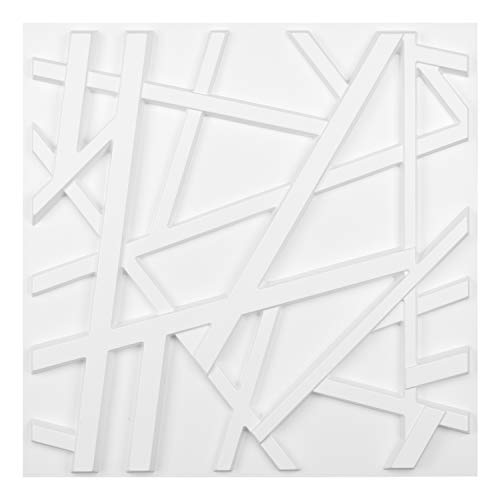 Art3d Matt White PVC 3D Wall Panel Geometric Crossing Lines Cover 32 Sqft, for Residential and Commercial Interior Décor (Tiles Wall Decorative Art)