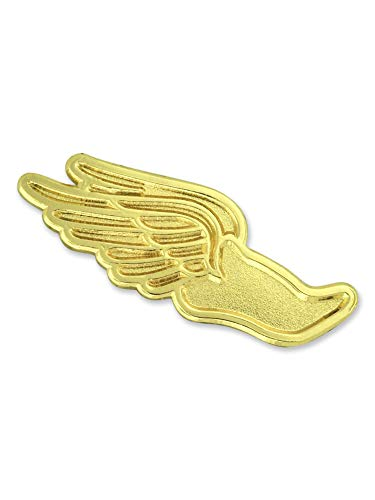 PinMart Gold Wing Shoe Cross Country Track Chenille Sports Lapel Pin
