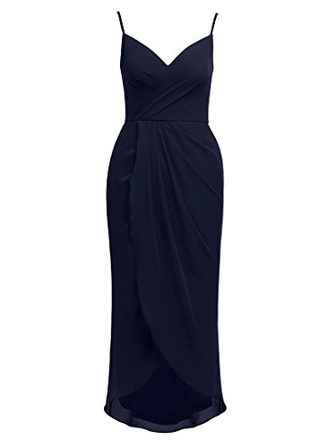 Alicepub Women's Spaghetti Evening Party Dress Hi-Lo Bridesmaid Dresses Chiffon, Dark Navy, US12 Chiffon Sweetheart Neckline Column