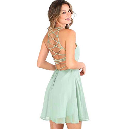 Gown NREALY Cocktail Sleeveless Bandage Backless Mini Falda Dress Women's Green Party qzntgzOR