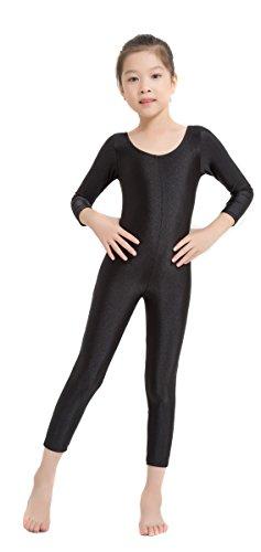 Speerise Girls Kids Long Sleeve Spandex One Piece Dance Unitard, Black, 8-10