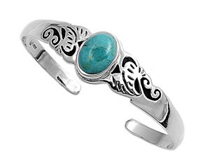 THE ICE EMPIRE Oval Synthetic Turquoise Filigree Sterling Silver Bangle Bracelet Cuff