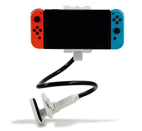 NockNock Stand Holder for Nintendo Switch and Smartphones Samsung Android S8 S9 iPhone, Gooseneck Long Arm (White) ()