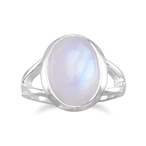 Rainbow Moonstone Ring Sterling Silver Split Band Design Ring With Oval Moonstone - Size 9 by JewelryWeb