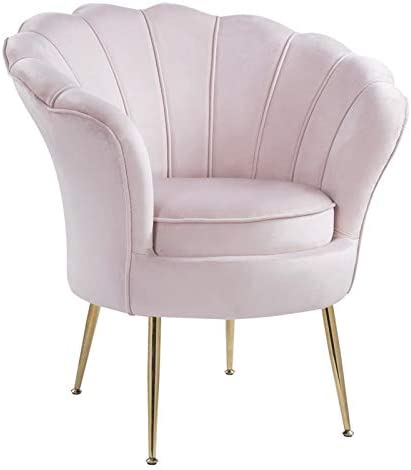 Lilola Home Angelina Velvet Scalloped Back Accent Chair with Metal Legs in Pink