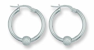 e56397d88 Genuine White Gold Glitter Ball Hoop Earrings 20mm: Amazon.co.uk: Jewellery