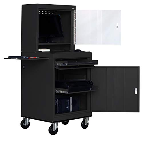 - Sandusky Lee JG6625-09 Steel Mobile Computer Security Workstation, 150 lb Capacity, 26