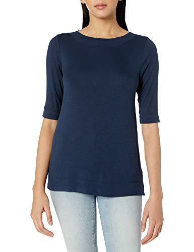 Amazon Brand - Daily Ritual Women's Fluid Knit Elbow-Sleeve Boat Neck Shirt, Navy, XX-Large
