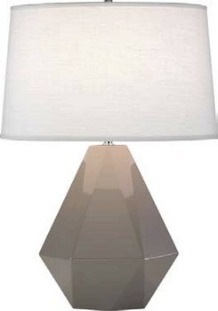 Robert Abbey 942 Lamps with Oyster Linen Shades, Polished Nickel Accented Smokey Taupe Glazed Ceramic Finish