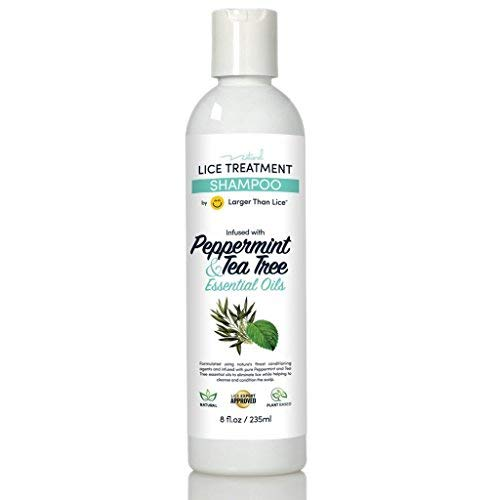 Natural Lice Shampoo and Treatment - Peppermint & Tea Tree - 100% Effective After One 15 Minute Application - Kill Head Lice, Nits - Safe for Kids & Pregnant Women's. by Larger Than Lice