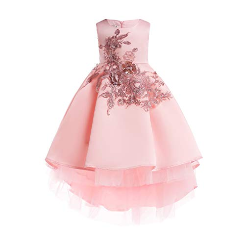 Butterfly Princess Flower Girl Dresses - Flower Girl Dress Princess Butterfly Ball Gown Dresses for Wedding Birthday Party (4-5 Years, Pink)