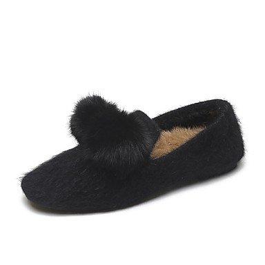 US6.5-7   EU37   UK4,5-5   CN37 Wuyulunbi@ Chaussures femmes de confort d'hiver polaire Appartements Talon plat bout rond pour piscine noir