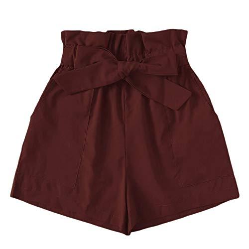 [해외]테 신 종이 가방 반바지 여성 높은 허리 캐주얼 핫 바지 Bowknot 짧은 바지 포켓 / Thenxin Paper Bag Shorts for Women High Waist Casual Hot Pants Bowknot Short Trouser with Pockets
