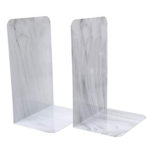 Cher9 1 Pair Marble Metal Bookends Organizer Desktop Office Home Book Shelf Storage Holder Book - Bookends Storage