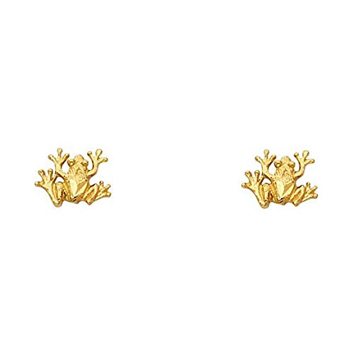 Women's 14k Yellow Gold Frog Small Tiny Baby Post Earrings (0.35 in x 0.31 in)