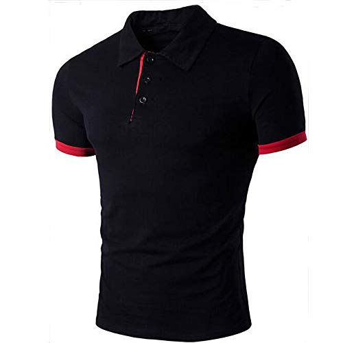 Dressin Fashion Slim T-Shirt Mens LapCrew Neck Button Short Sleeve Sport Causal Tops Tees Shirts