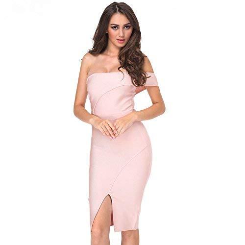 Spalle Ginocchio Con Marca Parola Cerimonia Al Rosa Da Scoperte Colletto Mode Sera Dress Donna All'abito Nuziale Vestito Abiti Aderente Di Party tYqAX