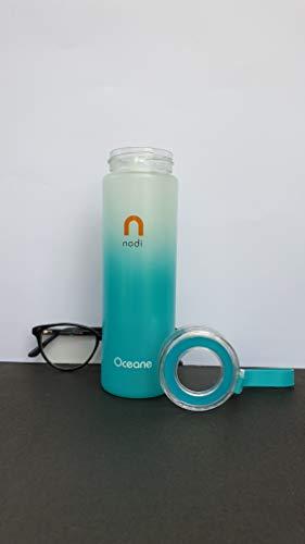 nodi Glass Water Bottle, 380ml, Ocean