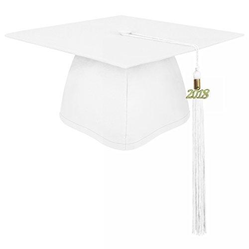 lescapsgown Unisex Adult Graduation Cap with Tassel 2019 Year Charm-Matte White -