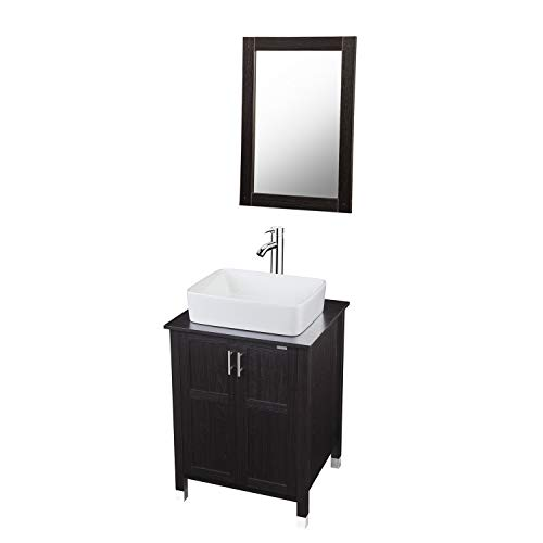 Modern Bathroom Vanity and Sink Combo Stand Cabinet with Vanity Mirror,Single MDF Cabinet with Ceramic Vessel Sink -