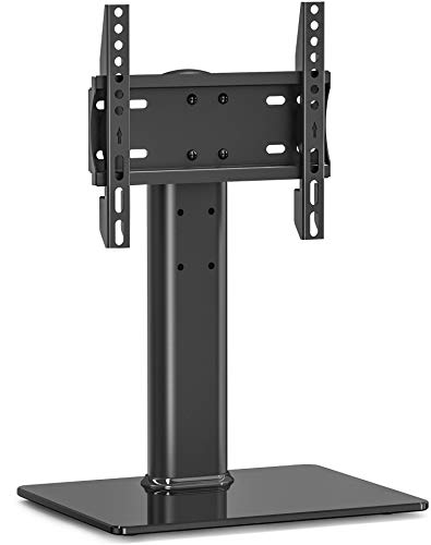 Universal Swivel TV Stand/Base Table Top TV Stand 19 to 32 inch TVs 80 Degree Swivel, 3 Level Height Adjustable, Heavy Duty Tempered Glass Base, Holds up to 88lbs TVS TT103202GB