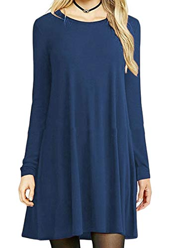 Plain 1 Crewneck Stylish Domple Tunic Mini Shirt Sleeve Dress Long Women's wqfxqYF
