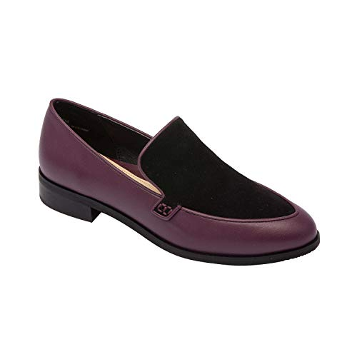 Pic & Pay Kadence | Two Tone Leather Suede Stack Heel Loafer Comfortable Insole Padded Arch Support Boysenberry Leather/Black Suede 8M