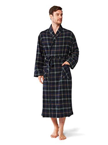 SIORO Mens Flannel Robes Soft Cotton Plaid Bathrobe Shawl Collar Loungewear Housecoat,Dark Green XXL