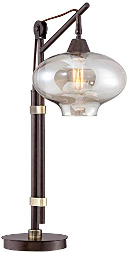 Calyx Industrial Desk Table Lamp Antique Bronze Brass Cognac Glass Shade Edison Style for Living Room Bedroom Office - Franklin Iron Works by Franklin Iron Works (Image #6)