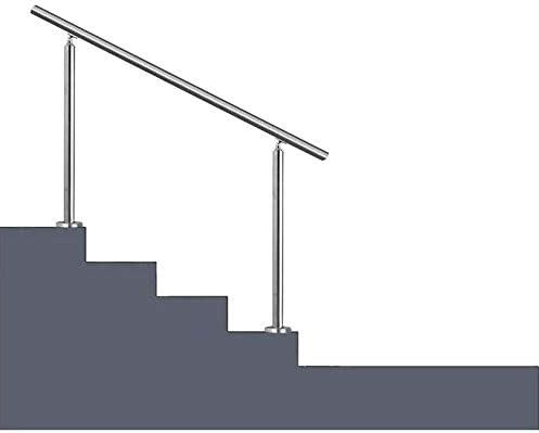 階段の手すり手すりキット、調整可能な2ポスト付きアセンブリにクロスバーなし1〜3ステップに適合ステンレス鋼の手すり階段レール、屋外用ステップ用キット、スライバー