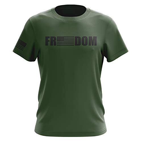 Tactical Pro Supply Freedom American Flag T Shirt, Military Green - XL