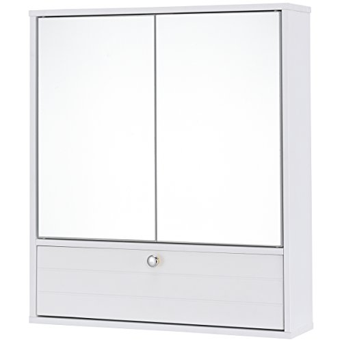 (Giantex Bathroom Cabinet Wall Mounted Mirrored Storage Organizer with Pull-Down Storage Shelf, White)